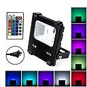 LED投光器 RGB 10W フラッドライト 16色 4モード ガーデンライト リモコン付き 防水仕様IP65 (ホリデー照明ライト 風景ランプ ステージランプ)
