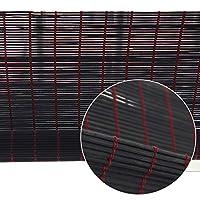 竹製ブラインド 黒い竹ローラーブラインドキッチンバルコニー、防腐剤とカビの遮光日よけ、幅50-140cm、高100-260cm (Size : 80x120cm)