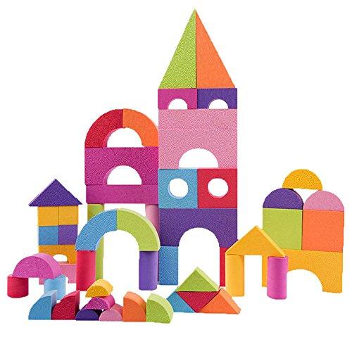 pcb 積木 セット 積み木 パズル ブロック やわらか 安全 EVA 素材 立方体 カラフル 知育 おもちゃ 幼児 子供 (A つみき ブロック)