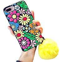 iPhone 7 Plus ケース豪華 手作り キラキラ 桜ダイヤモンド 多彩花形図案 毛玉付き ソフトシリコン アイフォン 8 Plus 携帯電話保護カバー (iPhone 7 Plus/8 Plus, ひまわり)