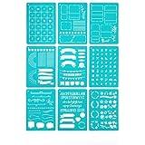 丈夫なA5版バレットジャーナル用ステンシル9枚セット - 自分のスタイルで自由に日記を記入