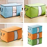 Yosoo 3-Piece Large Bamboo Charcoal Clothes Quilt Pillow Blanket Zip Foldable Storage Bag Box Organizers Container Box Assorted Colors