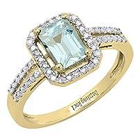 10K イエローゴールド 7X5 mm エメラルドシェイプ 宝石&ラウンド ホワイトダイヤモンド レディース ヘイロー 婚約指輪