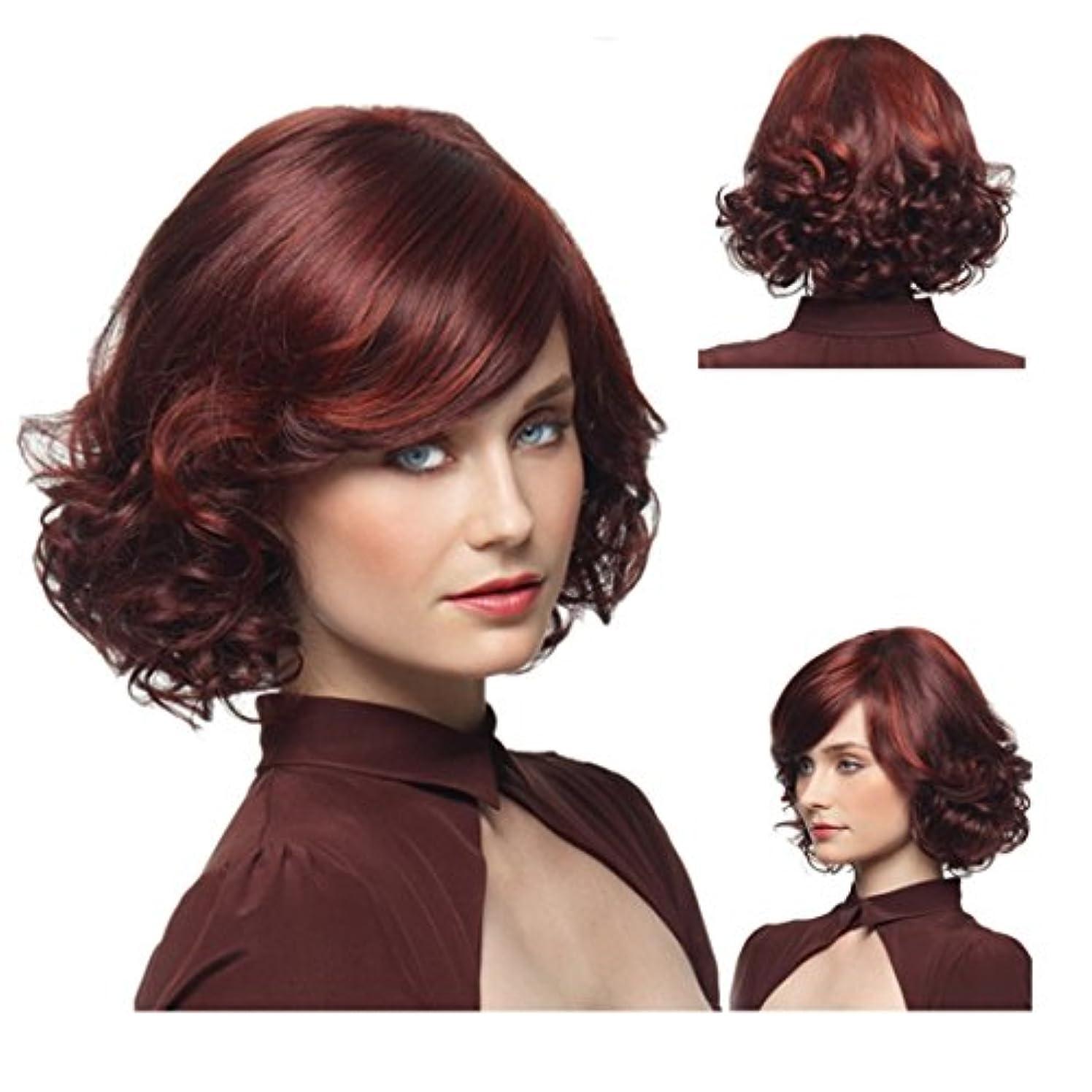 同意つかむ雑多なYOUQIU 女性25センチメートル/ 220グラム(ワインレッド)かつら用エアエッグロール斜め前髪ウィッグ耐熱髪を持つ女性のための梨ショートカーリーウィッグ (色 : ワインレッド)