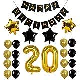 Funpa 風船 バルーン ガーランド 23点セット 誕生日 お祝い パーティー デコレーション 掛け飾り ktv ディスコ バー アルミ箔 (20歳)