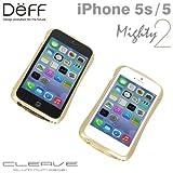 docomo au SoftBank iPhone5 iPhone5S 対応 Deff CLEAVE ALUMINUM BUMPER Mighty iPhone アルミバンパー (アーバンゴールド)