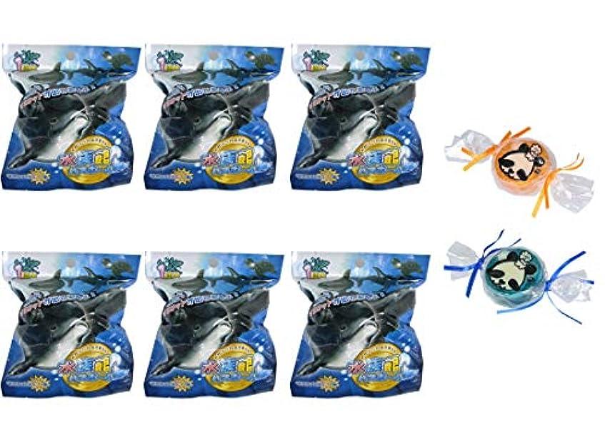 半島授業料想像力【6個セット+ミニ石けん付】サンタン 水族館 バスボール せっけんの香り 80g【パンダ石けん2個付】