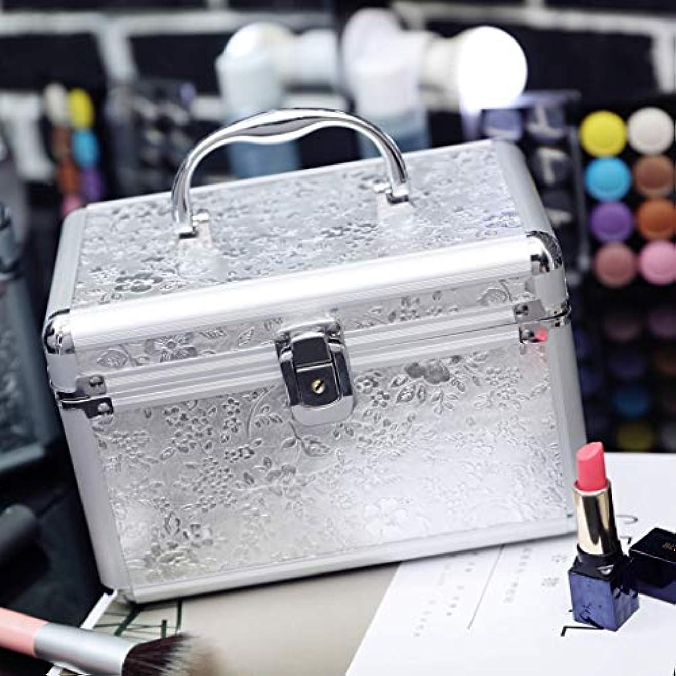 メイクボックス 化粧箱 收納バッグ 化粧品収納ボックス 鍵付き アルミ製 道具入れ 小物入れ 機能的 大容量 收納抜群 23×15×15CM シルバー B