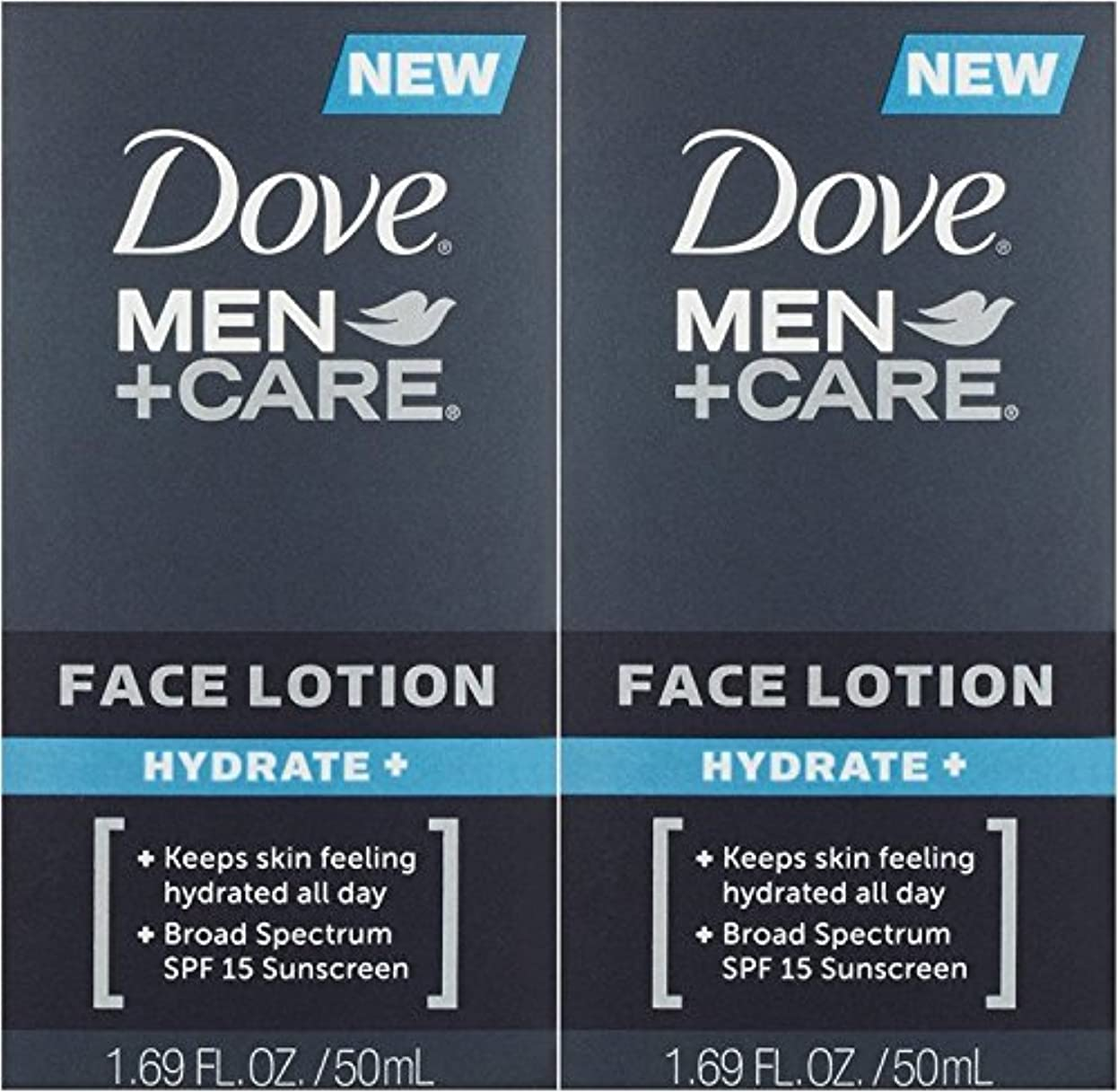 靄口保存する【アメリカ発送】 Dove Men+Care Face Lotion, Hydrate+ 1.69 oz ダブ 男性用 フェイスローション 潤い SPF 15 50ml