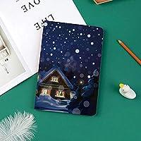おしゃれな新しい ipad pro 11 2018 ケース 傷つけ防止 二つ折 開閉式 防衝撃デザイン 超軽量&超薄型 全面保護型 (iPad Pro11 インチ)松の木と雪の中で小さな家と冬の夜の田園風景