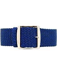 DaLuca Braided Nylon Perlon Watch Strap - Navy (Polished Buckle) : 20mm