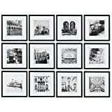 Gallery Perfect 12 Piece Black Square Photo Frame Gallery Wall Kit with with Decorative Art Prints & Hanging Template, Set
