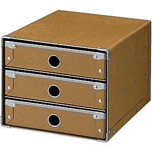 ナカバヤシ デスクトップケース レターケース 3段 A4 タテ型 ナチュラル FBD-A43NA