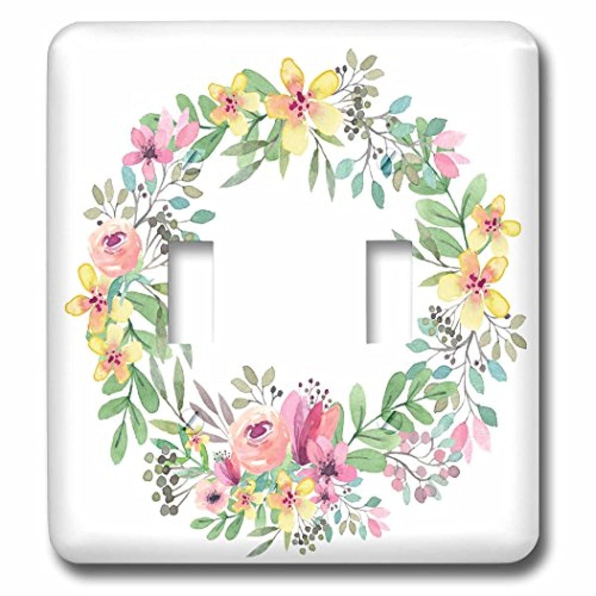エンコミウム区滅びる3dローズAnne Marie Baugh – 水彩 – Prettyイエロー、ピンク、パープル、グリーン水彩Floral Wreath – 照明スイッチカバー – ダブル切り替えスイッチ( LSP _ 252800 _ 2 )