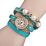 YideaHomeウォッチ アンティーク調 本革 ベルト レザー ラップブレス 腕時計 リーフチャーム ブレスレット ウォッチ