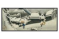 ポスターパネル(アート&アニメ) ミニ屏風 四曲 H120xW270 【 蒲原宿 歌川広重 】