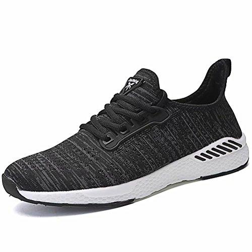 [Visionreast] ランニングシューズ メンズ アッパーMIXニット 超軽量 スニーカー メッシュ クッション性 おしゃれ スポーツシューズ スポーティ 通気性 運動 靴 大きいサイズ(23.0cm~29.0cm) 男女兼用 ブラック 24.0cm