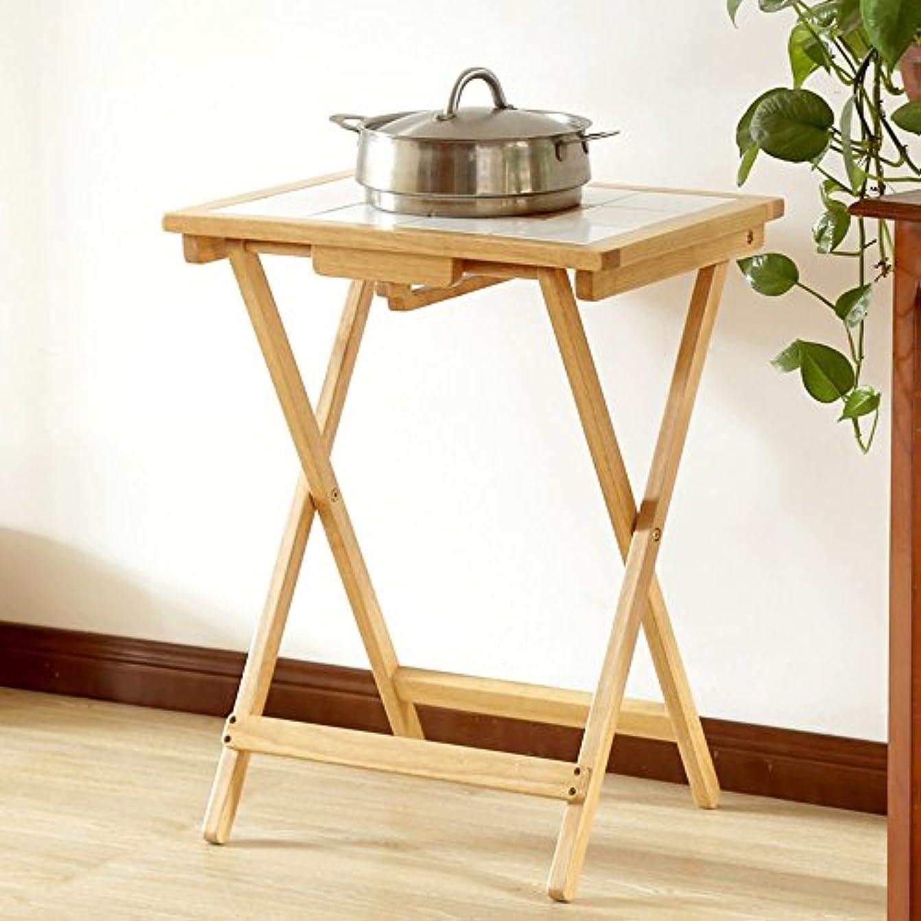 厚いおとうさん有限LJHA zhuozi 折りたたみテーブル/ソリッドウッド小さなスクエアテーブル/タイルアンチ高温耐食ダイニングテーブル/ホーム小デスク/ 380 * 500 * 645MM (色 : 1#)