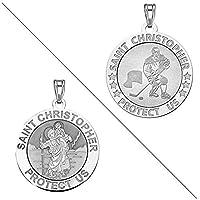 カスタム彫刻Ice Hockey–Saint Christopher doubledsideスポーツReligious Medal シルバー