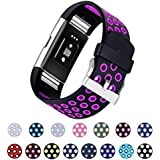 Fitbit Charge 2 Bands, mtsugar Two-color Compression Breathable Replacement Wristband for Fitbit Charge 2 Bands, Buckle, 15 Colors, Large, Small