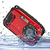 IFLYING KG003 2.7インチ液晶カメラ 16MP デジタルカメラ 8倍ズーム 水中10m 防水カメラ 水中撮影に適用 (レッド)