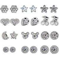 Color Crystal Magnetic Clip On Stud Earrings for Kids Teen Girls Womens Gift Set, Pack of 12 Pairs (White)
