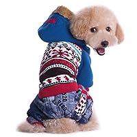 Legendog 犬服 犬用パーカー ドッグウェア 犬のコート かわいい プリント ペット服 犬のアパレル フード付き 暖かい 秋冬 散歩 旅行 写真撮影着 size S (ブルー)