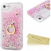 MAVIS'S DIARYiPhone 8 ケース/iPhone 7 ケース リング付き スタンド機能 クリア 流れるケース 天然オイル使用 流れハート 液体ケース キラキラ 透明 耐衝撃 カバー 全6色 ピンク