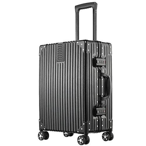 (アスボーグ)ASVOGUE スーツケース キャリーケース 半鏡面仕上げ アライン加工 アルミフレーム レトロ 旅行 出張 軽量 静音 ファスナーレス 保護カバー付き