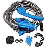 電動ポータブルシャワー ブルー DC12V シガーソケット対応 海水浴 山 洗車 キャンプアウトドアレジャーで使える簡易シャワー