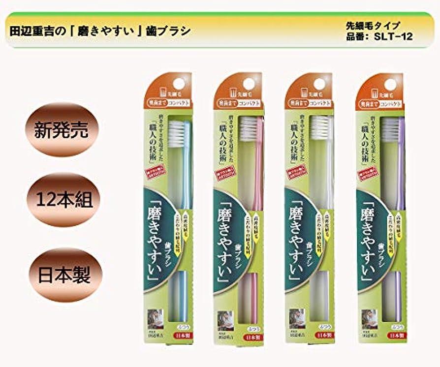 おとこシリング個人的な歯ブラシ職人 Artooth® 田辺重吉  日本製 磨きやすい歯ブラシ 奥歯まで先細毛SLT-12 (12本入)