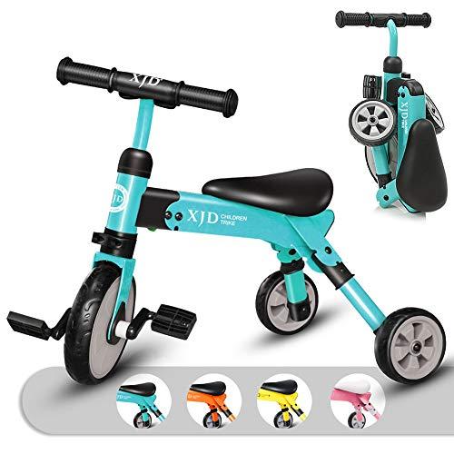 キッズ 三輪車 2 in 1 三輪車 2歳 子供用 折り畳み式 持ち運び易い T型ハンドル 2-4歳幼児に向け 誕生日プレゼントに最適 アウトドア&室内兼用(ブルー)