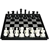 ROSENICE Chess Checkers Set with Folding Magnetic Board (Black White)