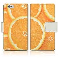 【apple iPhone6s (4.7インチ)】 手帳型ケース PVC レザー スリムダイアリー アイフォン6sケース 【フレッシュオレンジデザイン】