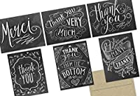 72 Thank You Cards - Chalkboard Thank You - 6 Designs - Kraft Envelopes Included