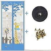 印刷 網戸カーテン マグネット付き,メッシュ ドア画面でマジック テープとピン,熱 玄関カーテン,蚊・害虫アンチ-g 95x215cm(37x85inch)