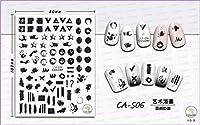 超薄型自己接着3Dネイルアートネイルスライダーステッカー落書き記号テキストテキスト文字レタータイガースキンCA501-507 CA506