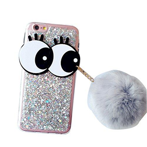 MOMOCASE iPhone 7 8 ケース iPhone7 スマホケース ソフト シリコン 新型 ファッション まつげ大目 毛のボールは携帯電話ケース ドッグ キャラクター おしゃれ おもしろ かわいい iPhone 6 Plus iPhone6用のケースです カバー 耐汚れ 全面保護 フリップ 人気 おしゃれ 保護ケース (iphone 7, グレー)