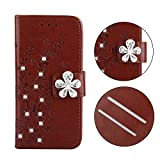 iPhone 5s / SE 手帳型ケース Zeebox® 可愛い カードポケット マグネット式 保護ケース ダイヤカバー キラキラ 手帳 Apple iPhone 5s / SE 対応 女性向 スマートフォンケース - ブラウン