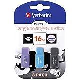 (3個セットパッケージ) Verbatim バーベイタム 16GB USB 2.0メモリ キャップレス式 3PCSセット マルチカラー
