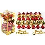 ROOCIA オシャレ かわいい クリスマス ツリー リース 用 オーナメント 飾り ブルー シルバー 32個 セット ボール ベル ドラム プレゼント メリークリスマス (レッド32セット)