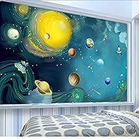 Xueshao 壁布写真壁紙3D漫画ハンドペイントされた宇宙惑星子供部屋寝室家の装飾壁画壁画-250X175Cm