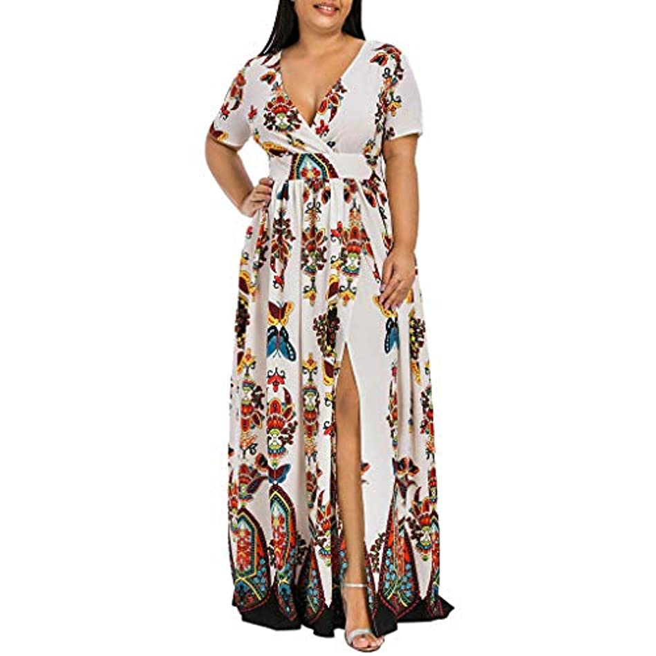 力強い切り離すこどもの日SakuraBest Women Butterfly Printed V-Neck Short Sleeve High Split Long Dress Plus Size