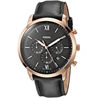 Fossil Neutra Chrono Black Stainless Steel & Leather Watch FS5381