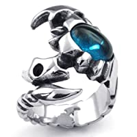 Aooazジュエリー メンズリング ステンレス指輪 ブルー CZダイヤモンド入り蠍デザイン シルバー アクセサリー 日本サイズ14号(USサイズ7号)