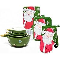 クリスマスキッチンギフトfor Cooks and Kids – 4項目のバンドル – キッチンタオル、オーブンミット、ポットホルダー、クリスマスツリーMeasuring Cups