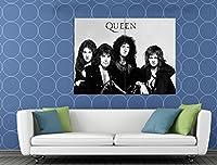 Queen Freddie Mercury DeaconテイラーBrian May BWレトロ47x 35Huge Giant印刷ポスター