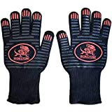 Ironstone - BBQ Cooking Glove 932°F Extreme Heat Resistant Oven Gloves for Cooking, Grilling, Baking (Red/Black)