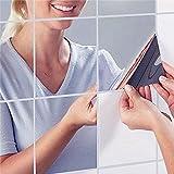 割れない鏡 ミラー ウォール ステッカー (15cmx16枚)( 安心 安全 シールタイプ 壁紙 フィルム スペースミラー )