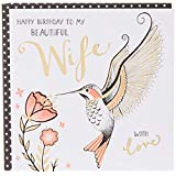 Rachel Ellen ZEB15 Wife Happy Birthday Card, Hummingbird - Beautiful Wife,Multicolor, 149 x 149 mm